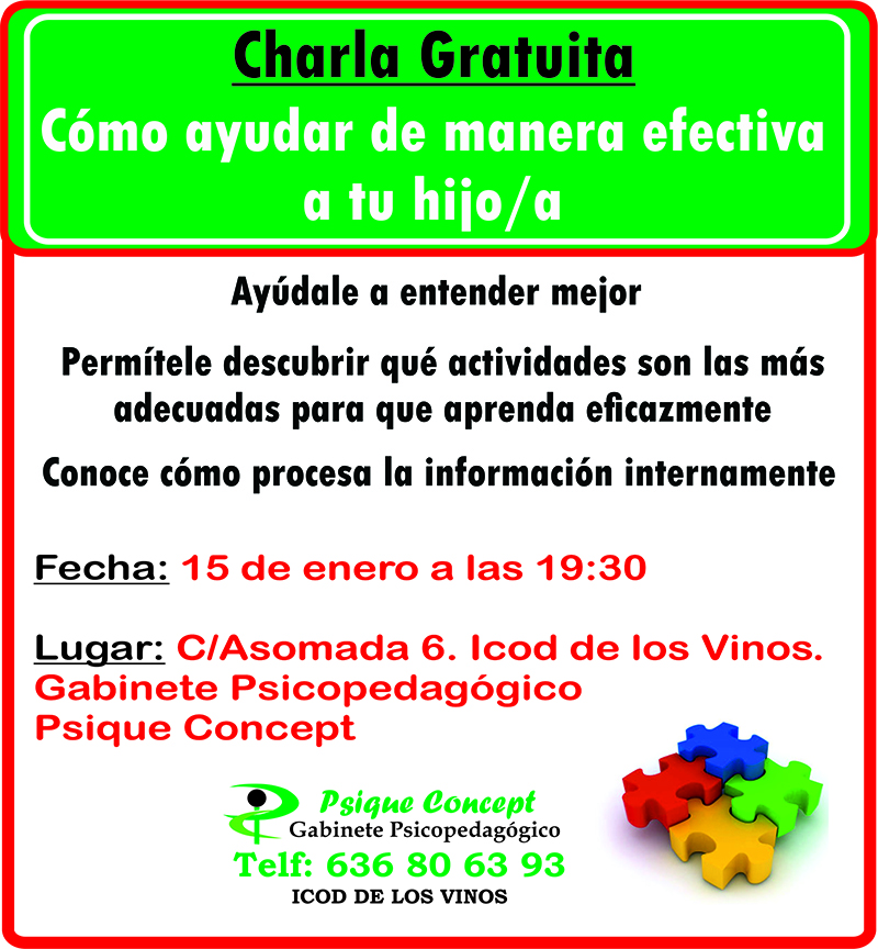 Charla Gratuita como ayudar a tus hijos en Icod de los Vinos